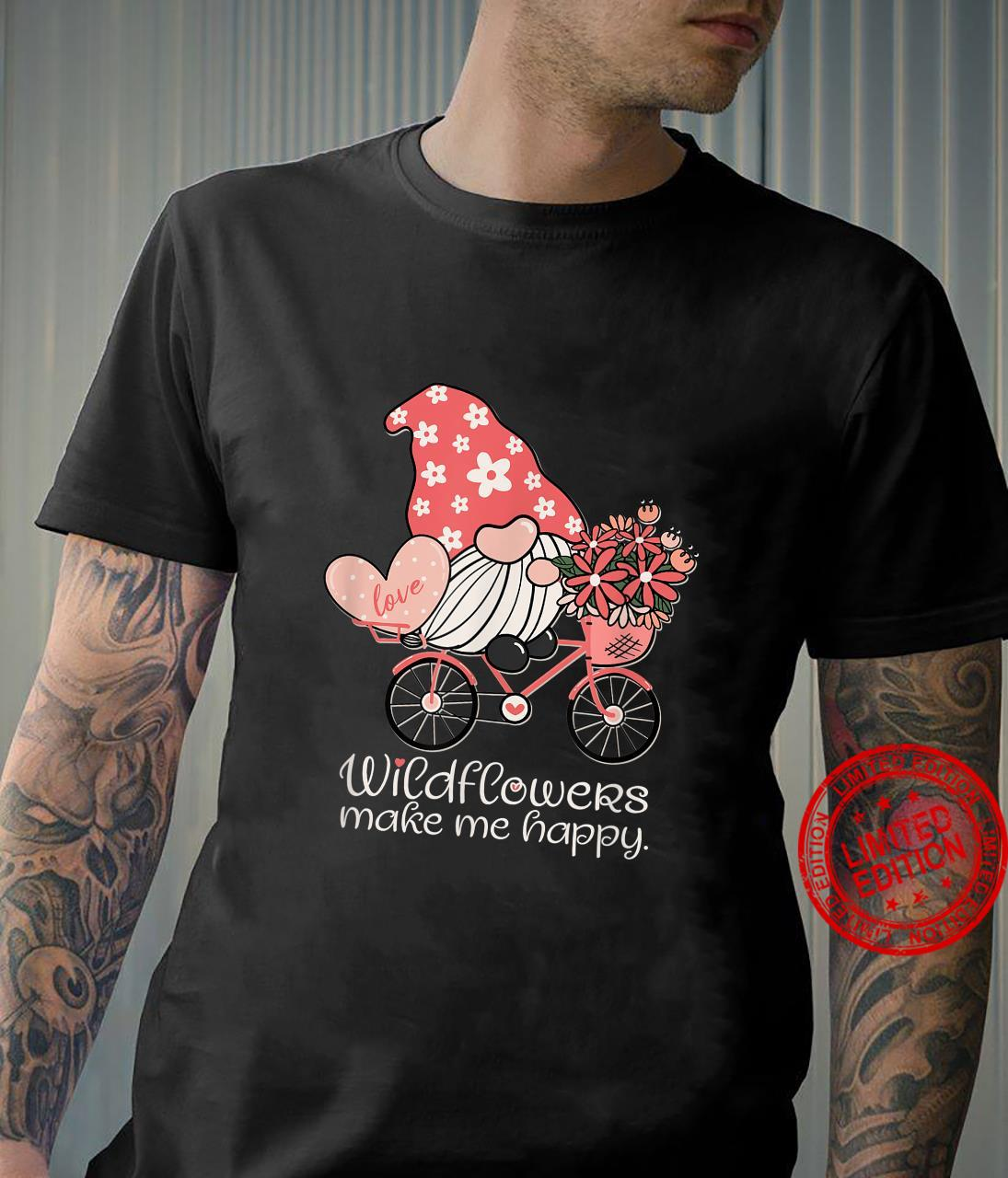 Wildflowers Make Me Happy Gnome on Bicycle Floral Shirt
