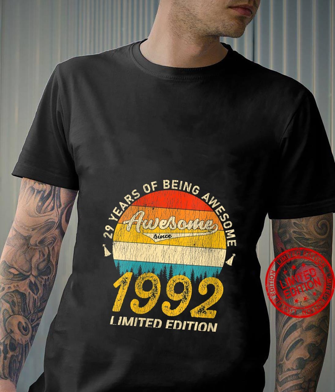 Womens 29 Year Old Bday Awesome Since 1992 Distressed 29th Birthday Shirt